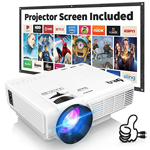 Proiettore DR.Q con schermo supporta 1080P Full HD, mini proiettore video compatibile con TV Stick PS4 HDMI VGA TF AV USB, bianco, multiuso.