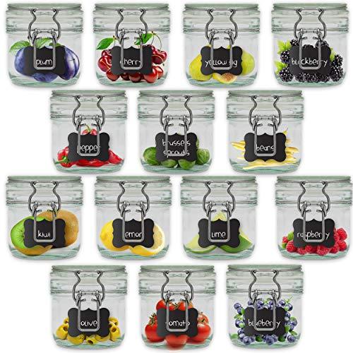Creative Home 6 x Barattolo Vetro 1 Litro con Chiusura Ermetica | 6 x 1L | Set Vasetti Vaso Contenitore con Coperchio per Conservare e Organizzare | 8 Etichette Lavagna Riutilizzabili + Gessetto