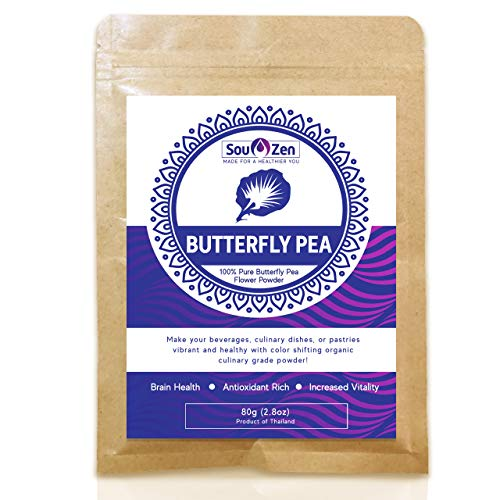 Sou Zen - 100% Blue Butterfly Pea Powder 2.8oz (80g) Culinary Grade   Premium Quality   Naturally Organic Superfood, Raw w/Antioxidants   Mix with Beverages, Smoothies and Baked Goods