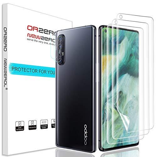 NEWZEROL 3 Stück Displayschutzfolie + 2 Kameraschutz für Oppo Find X2 Neo [Unterstützung für Fingerabdruck-ID] Anti-Bubble TPU 3D[Vollabdeckung] Sanft Bildschirmschutz