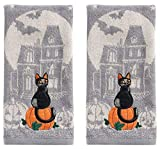 Halloween 2-Pack Embroidered Black Cat Scenic Cotton Kitchen Bath Hand Towels