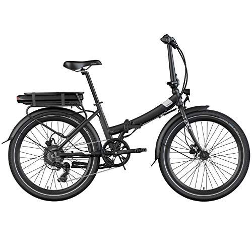 Legend Siena Vélo Électrique Pliable de Ville Smart eBike Roues de 24 Pouces, Freins Disque Hydraulique, Batterie 36V 10.4Ah Sanyo-Panasonic (374.4Wh), Noir Onyx
