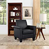 Lohoms Modern Faux Leather Accent Chair Uplostered Living Room Arm Chairs Comfy Single Sofa Chair (Black)