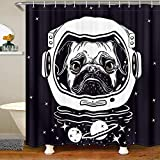 Homewish Space Dog Shower Curtain Pug in an Astronaut's Helmet Bath Curtain for Kids Outer Space Theme Waterproof Bathroom Curtain with 12 Hooks Suits for Bathtub 72' W x 78' L