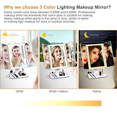 AirExpect Makeup Mirror Vanity Mirror with Lights - 3 Color Lighting Modes 72 LED Trifold Mirror, Touch Control Design, 1x/2x/3x Magnification, Portable High Definition Cosmetic Lighted Up Mirror 3