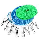 YuCool - 2 cordes à linges avec 8 pinces à linge - 4,9et 7,9m - Résistantes au...