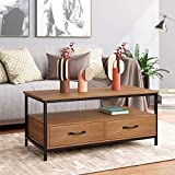 HOMECHO Table Basse avec 2 Tiroires Bidirectionnel Table de Salon Style...