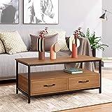 HOMECHO Table Basse avec 2 Tiroires Bidirectionnel Table de Salon...
