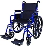 "Carex Wheelchair with Large 18"" Padded Seat - Lightweight with Adjustable and Removable Swing-Away Footrests - Folding Chair for Compact Storage - 250lb Capacity"