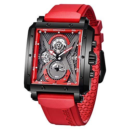 BERSIGAR Herren Uhren Rechteckige Uhren für Herren Analoge Quarz Mode Luxussport Herren Wasserdicht 100M chronographen Herren Silikonarmband Elegantes Geschenk