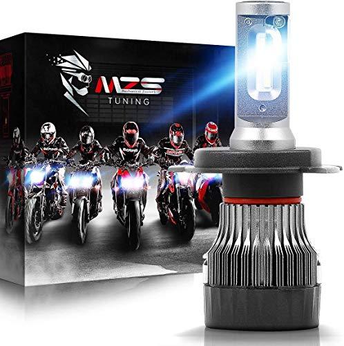 MZS Mini Lampadine H4 LED per Moto, 10000LM 60W 6500K Fari Abbaglianti e Anabbaglianti Kit Sostituzione per Alogena Xenon Luci Lampada Bianco (1 Pezzo)