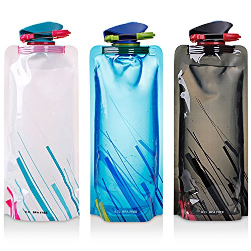 Foldable Water Bottle - Set of 3, Collapsible, Reusable, 700ML..