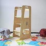 Kiddy dreams Tour d'apprentissage en Bois Naturel Montessori Learning Tower Tour d'apprentissage avec Étagères Réglables Kitchen Helper pour Petit Bebe
