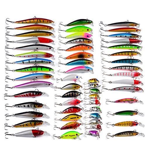 MUUZONING 56 pcs Alta qualit Materiali ecocompatibili, Morbido Esca Attrezzatura di Pesca Esca da Pesca Metallo Fishing Lure Cucchiaio Pesca, Artificiale Pesca Richiamo Set #67