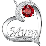 Zavest Birthday Gifts Jewellery for Mum July Birthstone Ruby Necklace I Love You Mum Sterling Silver Love Heart Jewellery