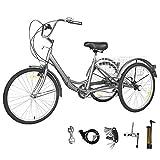 GNEGNIS Tricyclette à 7 Vitesses 3 Roues pour Adultes Tricycle Siège amélioré et Fender Cargo Trike Cruiser pour Sports de Plein air