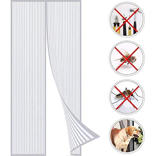 THAIKER Magnetic Screen Door Curtain, Heavy Duty Mesh Curtain Instant Screen Door Fits Door Up to, White 160x220cm(63x87inch)