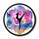 yaoyao Horloges Murales pour Chambres Yoga Méditation Métal Cadre Yoga Aquarelle Symbole Om Bouddha Art Moderne Danseurs Yogi Intérieur Chambre Décor Facile À Lire Grands Nombres