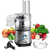 SHARDOR 3.5-Cup Food Processor Vegetable Chopper for Chopping, Pureeing, Mixing, Shredding and Slicing, 350 Watts with 2 Speeds Plus Pulse, Silver