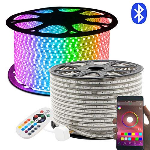 LED Strip, 50M RGB LED Streifen, Lichterschlauch 24 Tasten Fernbedienung Bluetooth Kontrolliert Lichtband, GreenSun LED Lighting Wasserdicht IP65 Lichterkette für Weihnachten, Party, Haus Deko