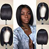 Jaja Hair Short Straight Bob Wigs Human Hair Lace Front Wigs Human Hair 8 Inch Pre Plucked 13x4 Lace Wigs for Black Women 130% Density with Baby Hair