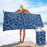 Lawenp Toalla de Playa de Secado rápido, Piel de Leopardo, Microfibra con Estampado de Animales, Toallas de baño Ligeras, súper absorbentes para niños y Adultos, 27.5 'X55'