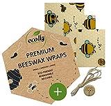 ecolly Lingettes à la cire d'abeille - Lot de 3 (S, M, L), Papier à la cire d'abeille, Premium Wax Wraps Wraps, Sans plastique et réutilisables, sans huile de jojoba - Funny Bees