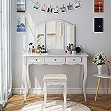 HOMECHO Coiffeuse de Maquillage avec Tabouret Table de Maquillage 3 Miroirs...
