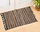 Leather Multi Rug Hand Woven and Hand Stiched, Made of Genuine Leather Strips, Fringe Trim, Durable, Stain Resistant, Leather Chindi Rug, Living Room Leather Rug, Eco Friendly -Grey Multi -24x36 Inch