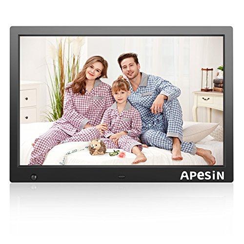 APESIN Digitaler Bilderrahmen 14.1 Zoll Widescreen 1280x800 Hohe Auflösung Full HD LCD Farbdisplay mit Bewegungssensor, Musik/Video Player/Kalender/Alarm, mit Fernbedienung (Schwarz)