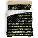 LOVE HOME DAY Camouflage American Flag Bedding Sets Queen Ultra Soft 4 Pieces Duvet Cover Set with Decorative 2 Pillow Shams Bedspread Bed Sheets Patriotic Stars and Stripes