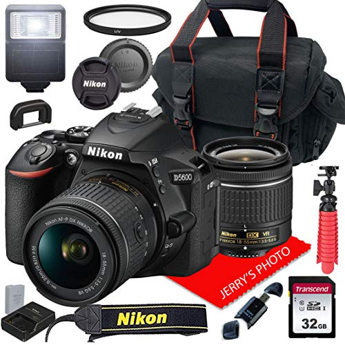 Nikon D5600 w/AF-P DX NIKKOR 18-55mm f/3.5-5.6G VR + Case + 32GB SD Card (15pc Bundle)