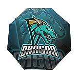 Rey Dragón De Miedo Paraguas Plegable Hombre Automático Abrir y Cerrar Antiviento Protección UV Ligero Compacto Paraguas para Viajes Playa Mujeres Niños Niñas