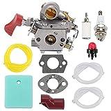 Fuel Li 545008042 545189502 Carburetor for Husqvarna Poulan Pro PP338PT PP033 PP133 PP333 Gas Trimmer Zama C1M-W44 33cc Carb with 545195901 Air Filter Turn Up Kit