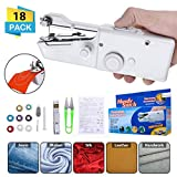 CHARMINER Hand Sewing Machine, Mini Hand-held Cordless Portable Sewing Machine Quick Repairing Suitable for Denim Curtains Leather DIY 18 PCS