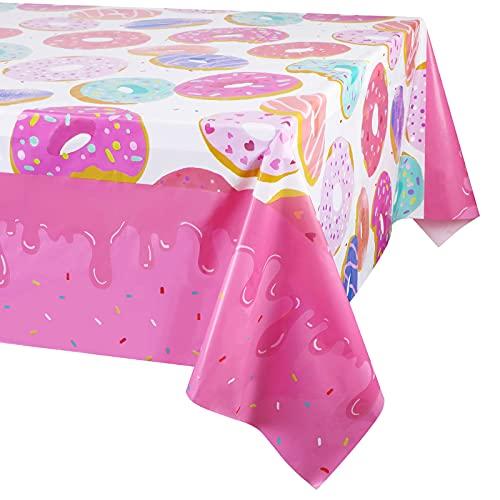 Paquete de 3 manteles de Fiesta con Estampado de Donuts, Mantel desechable, artículos para Fiestas de postres, Ideal para Fiestas de cumpleaños de niñas, Baby Showers, Fiestas de Donuts