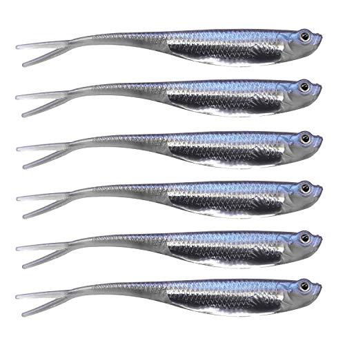 QualyQualy Esche di Plastica Siliconici 6Pz Morbido Silicone Esca Artificiale - Esche di Artificiali - Esche per la Pesca al luccio (1#)