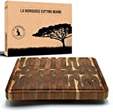 Acacia 17 x 13 x 1 inch Extra-Large End-Grain Wooden Cutting Board with Juice Groove & Hand Grip...