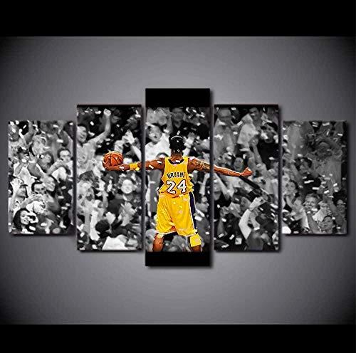 WADPJ Quadro su Tela Kobe Bryant Poster Sport Moderni Giocatore di Pallacanestro Soggiorno Decorazioni per la casa Stampa Picture Wall Art-30x40 30x60 30x80cm Senza Cornice