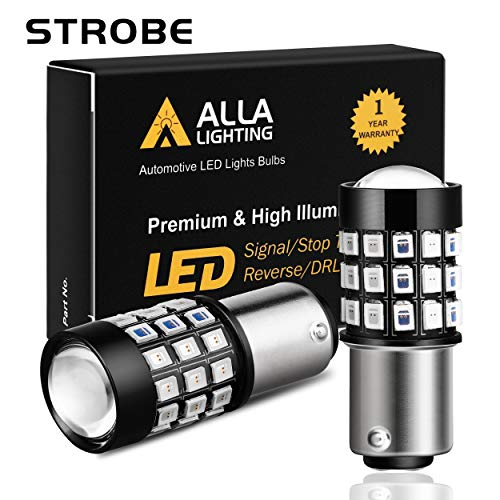 Alla Lighting BAY15D 2057 1157 LED Flashing Brake Lights Bulbs Super Bright 12V SMD Strobe Stop 7528 2357 1154 3496 Red Dual Filament Upgrade for Cars, Trucks, Motorcycles, Trailers