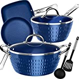 Lightning Deal Classic Induction Cookware Set, Cooking Pot and Pans Set, Blue Diamond Non-stick, Dishwasher Safe, Oven Safe, PFOA Free, Carnival, Mother's Day Gifts, 8 Pieces