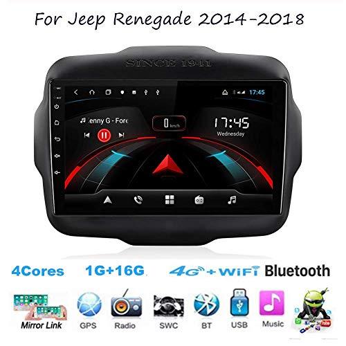 Per Jeep Renegade 2014-2018 Navigatore satellitare Double Din Car Radio stereo Navigazione GPS 9 pollici Touchscreen Unità principale Lettore multimediale Ricevitore video Wifi BT SWC