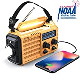 Weather Radio Raynic Solar Hand Crank Emergency Radio 5 Ways Powered AM/FM/SW/NOAA Weather Alert Portable Radio with Flashlight, Reading Lamp, Cellphone Charger and SOS Alarm (Yellow)