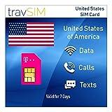 travSIM - Carte SIM Américaine (Carte SIM T-Mobile) pour 7 Jours de Validité - 50 Go de Données Mobiles 3G 4G LTE - Carte SIM T-Mobile US des États-Unis