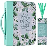 """Bible Cover Case for Women with a Matched Bookmark Floral PU Leather Bible Cover Bag with Pockets and Zipper for Standard and Large Size Study Bible 11""""x8.2""""x2.4"""" (Green Lily)"""