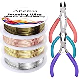 Anezus 7 Pcs Jewelry Pliers and Jewelry Beading Wire Tools Set Includes Needle Nose Pliers, Round Nose Pliers, Wire Cutters and Craft Wire for Jewelry Repair Making Supplies