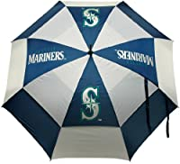 Product dimensions (inches): 2 x 2 x 40; Weight: 1 lbs Double canopy wind protection design, 100-Percent nylon fabric, auto open button, & easy grip molded handle Four location imprint and printed sheath Perfect for showing off your team spirit while...