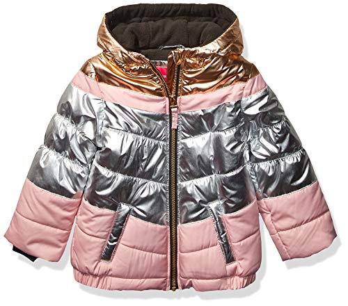 LONDON FOG Girls' Little Shine Puffer Jacket, Silver, 5/6