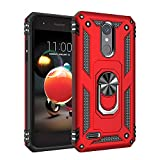 Phone Case for [LG Phoenix 4 / LG Phoenix 3 (AT&T)], [Ring Series][Red] Shockproof Defender [Full Rotating Metal Ring] Cover with [Kickstand] for LG Phoenix 3 & LG Phoenix 4 (AT&T)