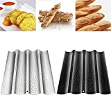 ORNOOU 2 Pack Nonstick Perforated Baguette Pan for French Bread Baking 4 Wave Loaves Loaf Bake Mold Toast Cooking Bakers Molding,14.96 x 6.38 inch